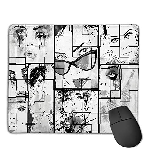 Premium-Textured Mouse Mat,Non-Slip Rubber Mousepad Waterproof,Fashion House Decor,Women Faces with Different Eye Makeup Eiffel Tower Romance Paris Image,Black White,Applies to Games,Home, School,of