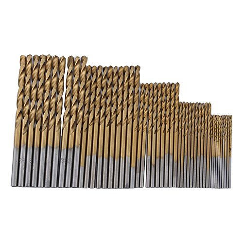 Twist Drill Bit Set Tools,Yosoo 50 PCS 1/1.5/2/2.5/3mm HSS High Speed Titanium Coated Jobber Length Steel