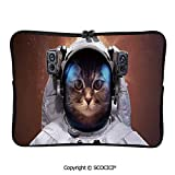 SCOCICI Laptop Bag Cat in Space Astronaut Cosmonaut Suit with Milkyway Backdrop Laptop Sleeve Bag Water-Resistant Protective Case Bag Compatible with Any Notebook 10 inch/10.1 inch