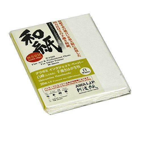 Awagami Shiramine Deckle Edge Postcard, 260gsm, 3.9×5.7, 20 Sheets