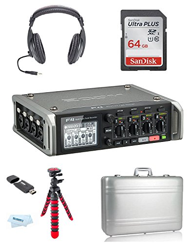 Zoom F4 Multitrack Field Recorder + Vanguard Foam Padded Aluminum Case + Headphones by Willoughby's