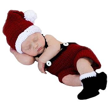 ZEAMO Soft Crochet Knit Baby Photograph Props,cute Baby Xmas Outfits,hat +  Cloth - ZEAMO Soft Crochet Knit Baby Photograph Props,cute Baby Xmas Outfits,hat +  Cloth + Shoes,(santa Claus)