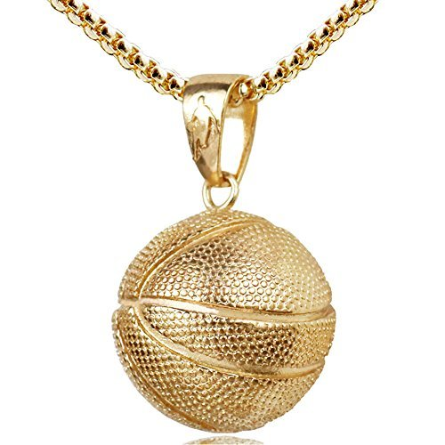 Basketball Pendant Gold Stainless Steel Chain Sports Necklace