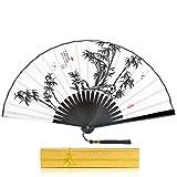"""BingGoGo Hand Fan Mens Folding Hand Held Silk Fan,9""""(23cm) Folding Fan,Chinese Style Classical"""