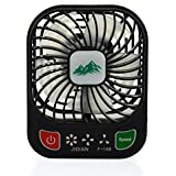 BearsFire® 3-inch Vanes 3 Speeds Electric Portable Mini Personal Fans USB Rechargeable Summer Cooling Fan Partable Table Fan with Built-in battery (Black)