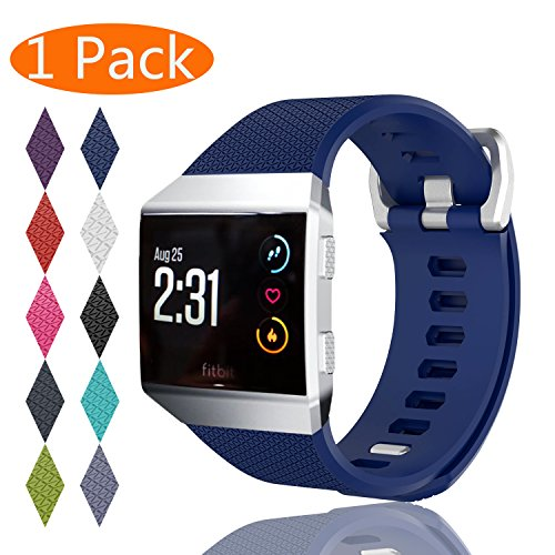 Fitbit Ionic Bands, KingAcc Soft Accessory Replacement Band for Fitbit Ionic, With Metal Buckle Fitness Wristband Strap Women Men (1-Pack, Dark Blue, Large)
