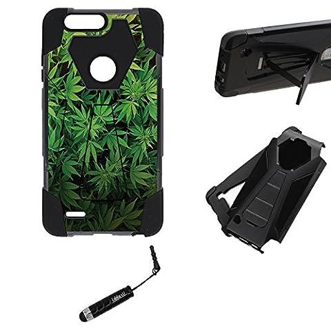 ZTE Zmax Pro 2 Kickstand Case, Hybrid 2 Layer Shock Proof Armor Kickstand Case by URAKKI - ZTE Zmax Pro 2 2nd Gen (2017) , ZTE Blade Z Max , ZTE Sequoia [Weed Marijuana Camouflage] (Zte Zmax Phone Case Marijuana)