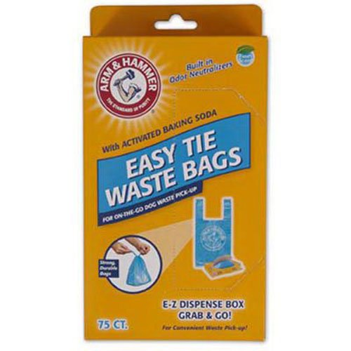 Arm & Hammer 71041 Easy-Tie Waste Bags, Blue, 75-Pack