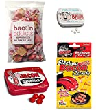 Bacon Candy Sampler Gift Pack (4pc Set) - Bacon Mints, Bacon Gumballs, Maple Bacon Salt Water Taffy & Sizzling Bacon Candy