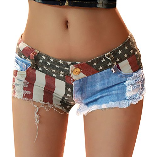 Fashion Story Hot Pants Mini Jeans Shorts Women American US Flag Denim (XXL)