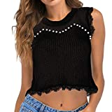 AOmahh 2019 New Women's Umbilical Knit Vest Tank Top Beaded Openwork Lace Sleeveless Sweater Top Black