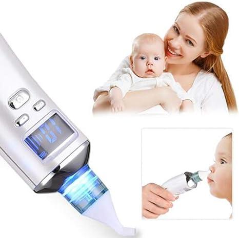 Aspirador nasal para bebés, limpiador nasal para moco eléctrico, instrumento de belleza 2 en 1, seguro de la FDA, 5 plumas de reemplazo para recién nacidos y niños pequeños: Amazon.es: Bebé