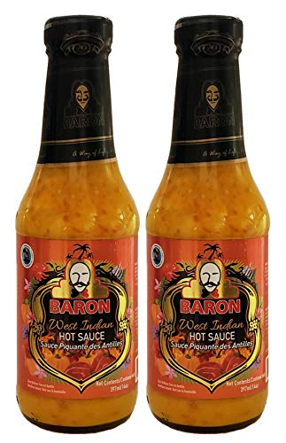 Mustard Pepper Sauce - Baron West Indian Hot Pepper Sauce 14oz (Pack of 2)