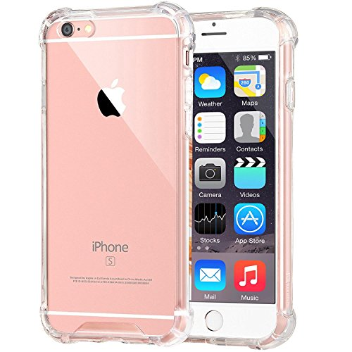 JOKHANG [Crystal Clear] iPhone 6s Case, iPhone 6 /6s Cover Case [Shock Absorption] with Transparent Hard Plastic Back Plate and Soft TPU Gel Bumper for Apple iPhone 6 / 6s (4.7 Inch)- Clear