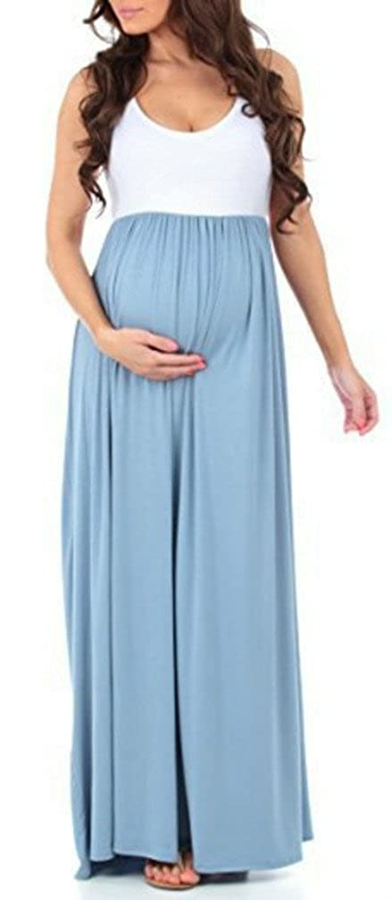 FANTIGO Women's Sleeveless Color Block Maxi Maternity Dress Pregnancy Dress