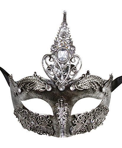 [KAYSO INC Aphrodite The Goddess Exotic Venetian Masquerade Mask (Silver)] (Adult Womens Mardi Gras Queen Costumes)