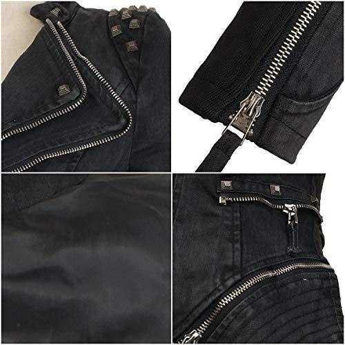 99d4dde5445e She sModa Women s Studded Shoulder Denim Jean Jacket Coat Lapel Punk Tuxedo  Blazer Motorcycle Jacket