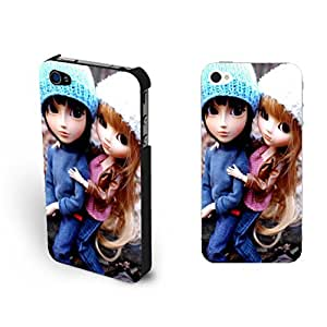 Fashion Cute Couple Lovers Sd Doll Design Iphone 4 Case Cover Vogue Big Eyes Toy Print Iphone 4s Case for Teen Girls