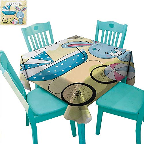 WilliamsDecor Gender Reveal Easy Care Tablecloth Cute Bunny Baby Carriage and Ball Its Boy Message Kids Design Indoor Outdoor Camping Picnic 50
