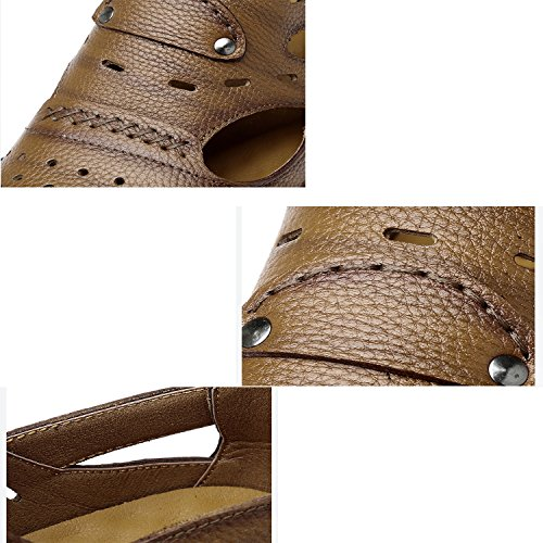 casual Cachi in Beach trekking pelle Marrone Pakamo NANXIE Large Sport in aperta Scarpe Size dark brown 45 vacchetta Fisherman da Nero Uomo scuro Sandali di Uomo estate all'aria Scarpe pelle 46 WO8fq