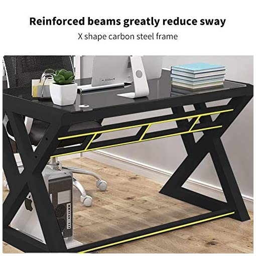 Urred Computer Desk Glass Top And Metal Frame Desk Table For Computer Desk Gaming Modern Study Office Work Writing Workspace Inspo