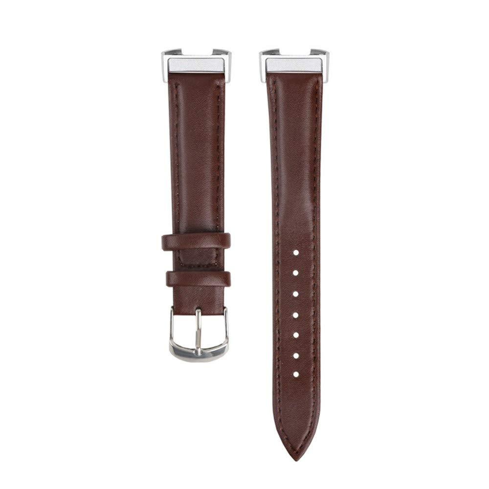 Für Fitbit Charge 3 Armband, Colorful Leder Ersatz Sport Band Uhrenarmband Lederarmband Erstatzband Armbänd Für Fitbit Charge 3 Unisex Armband mit Metall Connectors (Kaffee)