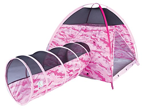 Pacific Play Tents Kids Pink Camo Dome Tent & Crawl Tunnel Combo for Indoor / Outdoor (Tent Combo Toy)