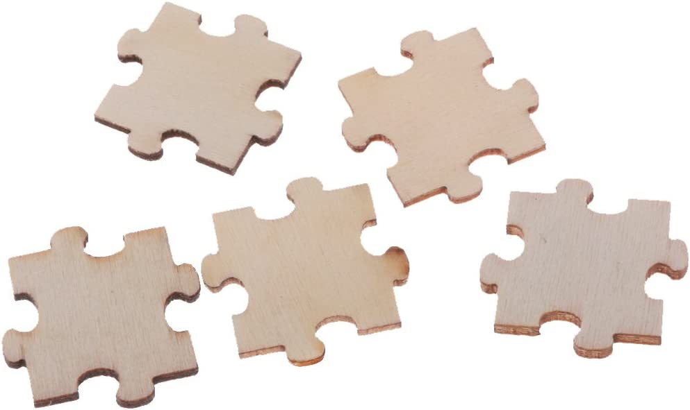 Jili Online 50pcs Wood Cutout Pieces Puzzle Embellishments for Scrapbooking Crafts