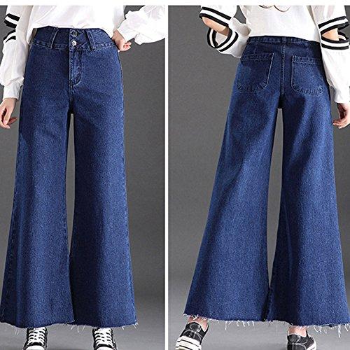 De Anchos Boyfriend Cintura Suelto Mujer Rectas Pantalon Elástico Mezclilla Vaqueros Vaqueros Marino Azul Pantalones Alta YxwqvnvEUf
