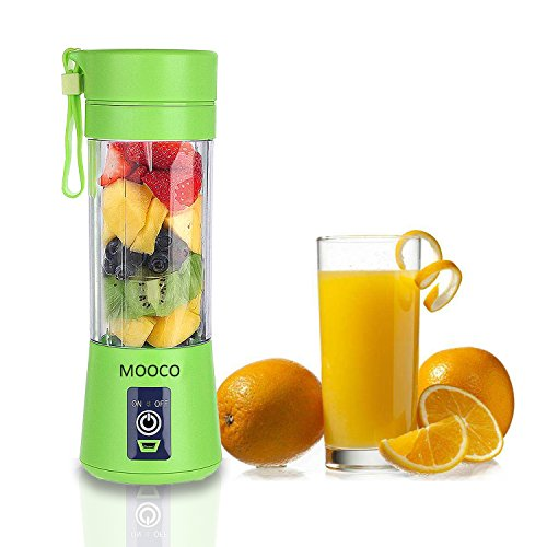 MOOCO Portable USB Juicer Cup,Juice Blender Portable Juicer Cup Updated Version -Six Blades,Mini Fruit Mixing Machine USB Rechargeable 380ml in 3D for Superb mixing