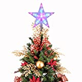 Star Tree Topper,CrazyFire 9.5 Inch Multi-colour Flashing Pentagram Star, 7 Modes Christmas Treetop Decoration Light (AA Battery Powered)