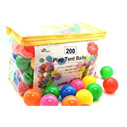 Oojami Pack of 200 Phthalate Free BPA Free Crush Proof Plastic Ball, Pit Balls - 6 Bright Colors in Reusable and Durable Storage Bag with Zipper by