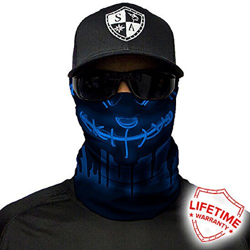 Salt Armour Face Mask Shield Protective Balaclava Bandana Microfiber Tube Neck Warmer (Neon Purge | Blue) by SA Company