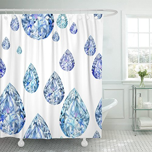 - TOMPOP Shower Curtain Blue Abstract Diamond Crystal Jewelry Watercolor Amethyst Beautiful Bright Waterproof Polyester Fabric 60 x 72 Inches Set with Hooks