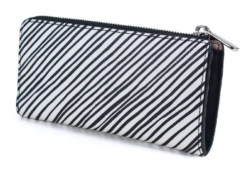 COACH Checkbook Bleecker Slim Zip Multicolor White Wallet Coated Size One Canvas Silver UUqdrw