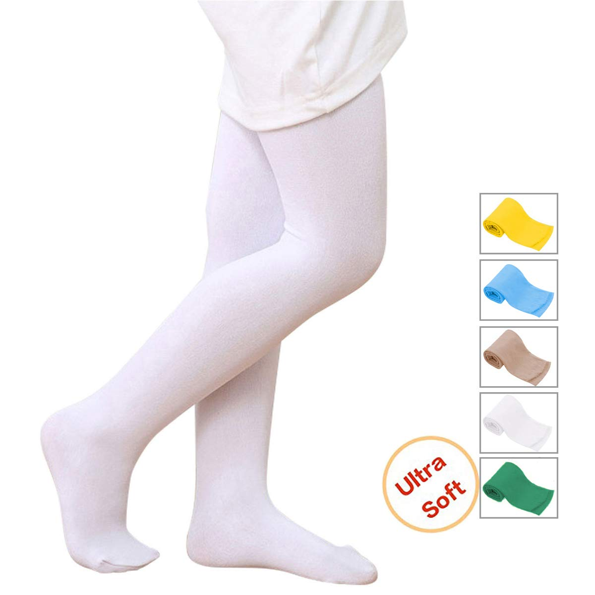 83ac2ad68 Girls  Ultra Soft Ballet Dance Footed Tight Knit Casual School ...