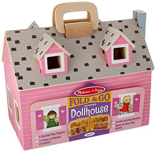 Melissa & Doug Fold and Go Wooden Dollhouse With 2 Dolls and Wooden Furniture