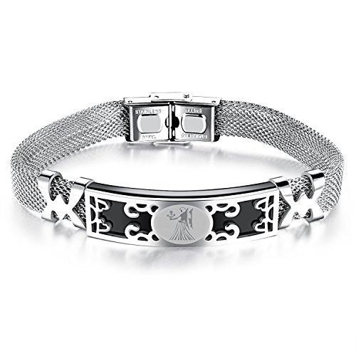 Moniya Personality Stainless Steel Wire Mesh Men Bracelet With Constellation Zodiac Sign,8.26