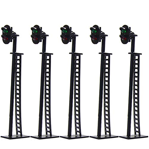 JTD01 5pcs Model Railway Block Signals Green/Red HO or OO Scale 8.5cm 12V Led New ()