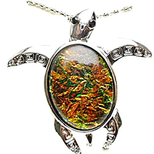 (Hawaiian Honu Sea Turtle Art Glass Shell Large Pendant 18