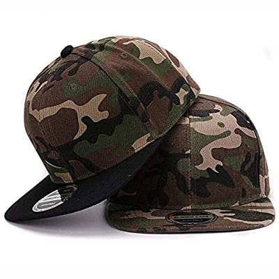 AKIZON Camo Snapback Baseball Cap Adjustable for Women and Men Flat Wide Bill from AKIZON