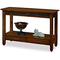 Slatestone Oak Storage Console Table - Rustic Oak Finish