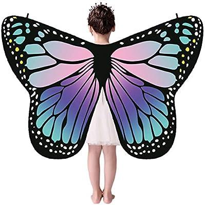 WEISY Capa de Disfraz para niños con alas de Mariposa para Disfraz ...
