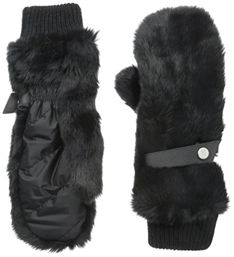 Spyder Women's Faux Fur Trimmed Nylon Mitten, Black/Black Fur, One Size