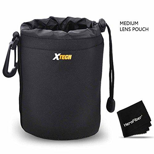 (Xtech Medium Soft Neoprene Lens Pouch for Canon, Nikon, Fuji, Leica, Sony, Panasonic, Pentax, Sigma, Tamron, Vivitar, Konica & Minolta Lenses)