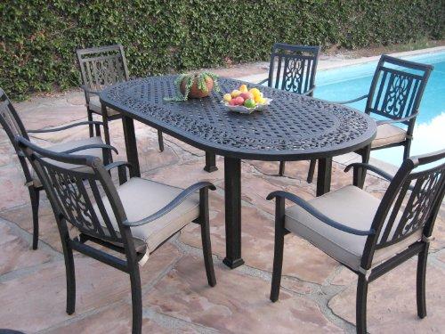 Heaven Collection Outdoor Aluminum Patio furniture 7 Piece Dining Set AO CBM1290 For Sale