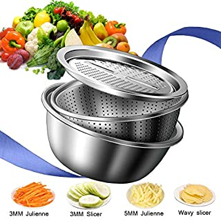 Jeslon Stainless Steel Drain Basket Vegetable Cutter, 3 in 1 Kitchen Multipurpose Julienne Grater - Salad Maker Bowl