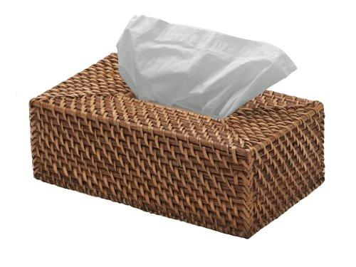 "KOUBOO 1030018 Rectangular Rattan Tissue Box Cover, 9.5"" x 5.75"" x 3.25"", Honey Brown"