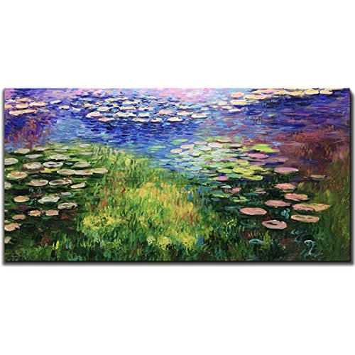 Monet Water Lilies Oil Painting - Amei Art Paintings,24X48 Inch The Series of Water Lilies Claude Monet Famous Oil Hand Painting On Canvas Abstract Flower Artwork Modern Home Decor Wall Art Wood Inside Famed Ready to Hang for Bedroom