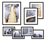 WOOD MEETS COLOR Gallery Picture Frames Set of 7 with Real Glass Window, Including Hanging Template, White Photo Mats and Art Prints, 1-11x14, 2-8x10, 4-5x7 Collage Frames